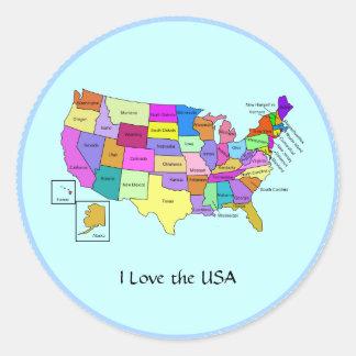 I Love the USA, United States map Classic Round Sticker