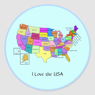 I Love the USA, United States map Classic Round Sticker