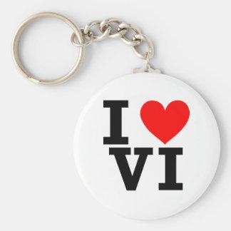 I Love the Virgin Islands Design Basic Round Button Keychain