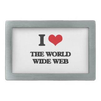 I love The World Wide Web Rectangular Belt Buckle