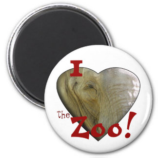 I Love the Zoo: Elephant Heart 2 Inch Round Magnet