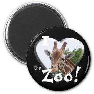 I Love the Zoo: Giraffe Heart 2 Inch Round Magnet