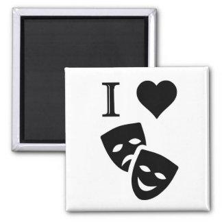 I Love Theatre 2 Inch Square Magnet