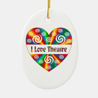 I Love Theatre Ceramic Ornament