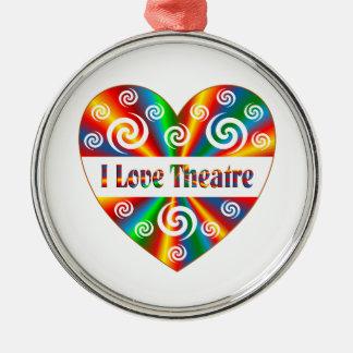 I Love Theatre Metal Ornament