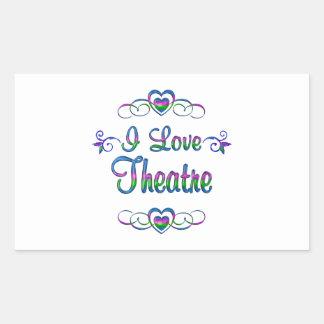 I Love Theatre Rectangular Sticker