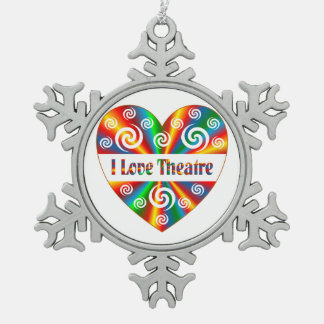 I Love Theatre Snowflake Pewter Christmas Ornament