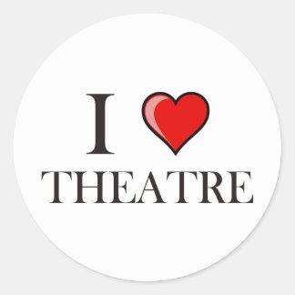 I Love Theatre Classic Round Sticker