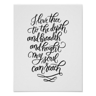 I Love Thee Hand-lettered Poem in Black Poster