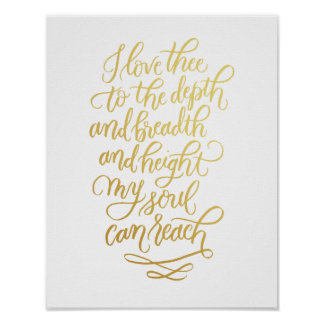 I Love Thee Hand-lettered Poem in Faux Foil Gold Poster