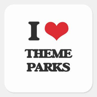 I love Theme Parks Square Sticker