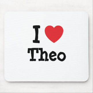I love Theo heart T-Shirt Mouse Pad