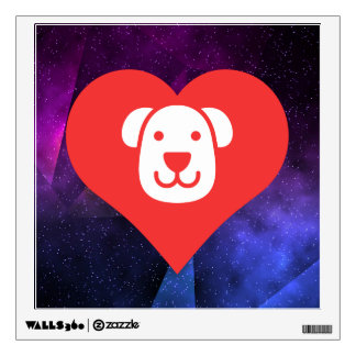I Love Therapy Dogs Cool Icon Room Stickers
