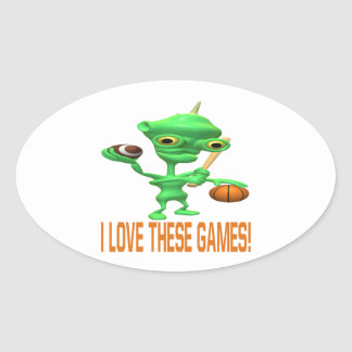 I Love These Games Oval Sticker