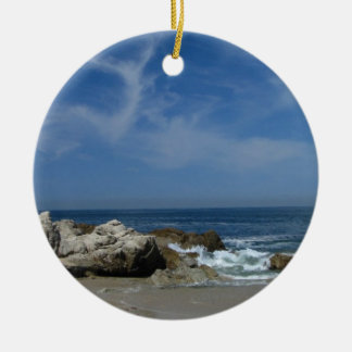 I Love This Beach Double-Sided Ceramic Round Christmas Ornament