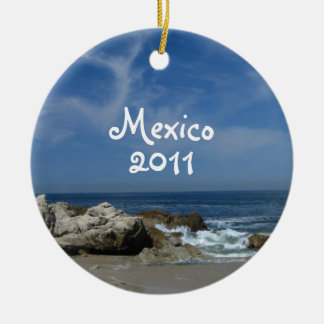 I Love This Beach; Mexico Souvenir Double-Sided Ceramic Round Christmas Ornament
