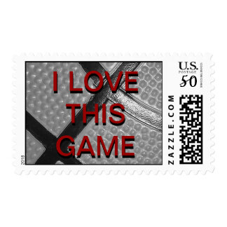 I Love This Game Gray Red Basketball Stamp