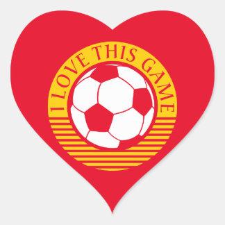 I love this game - soccer / football ball heart sticker