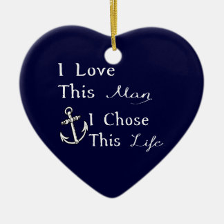 I Love This Man I Chose This Life Double-Sided Heart Ceramic Christmas Ornament