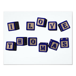 I love Thomas toy blocks in blue Card
