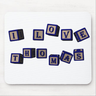 I love Thomas toy blocks in blue Mouse Pad