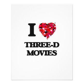 """I love Three-D Movies 4.5"""" X 5.6"""" Flyer"""