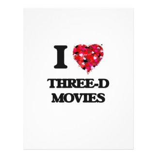 """I love Three-D Movies 8.5"""" X 11"""" Flyer"""