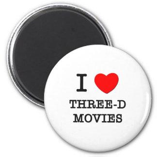 I Love Three-D Movies Refrigerator Magnets