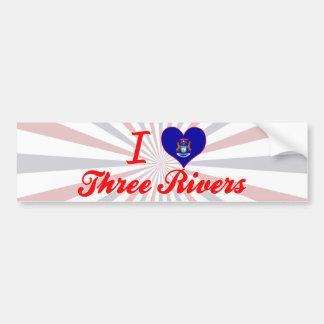 I Love Three Rivers, Michigan Car Bumper Sticker