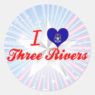 I Love Three Rivers, Michigan Classic Round Sticker