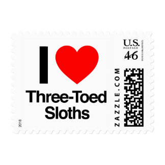 i love three-toed sloths postage stamps