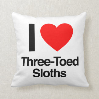 i love three-toed sloths throw pillow