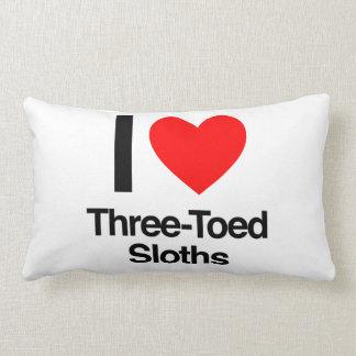 i love three-toed sloths throw pillows
