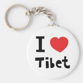I love Tibet Basic Round Button Keychain