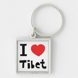 I love Tibet Silver-Colored Square Keychain