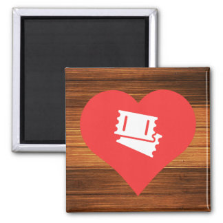 I Love Tickets Icon 2 Inch Square Magnet