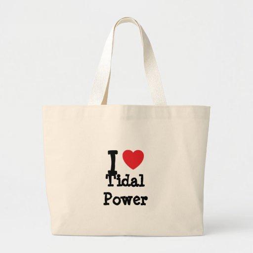 I love Tidal Power heart custom personalized Bags