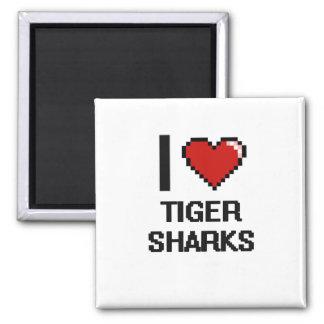 I love Tiger Sharks Digital Design 2 Inch Square Magnet