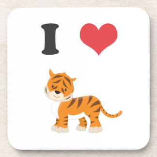 I Love Tigers Beverage Coaster