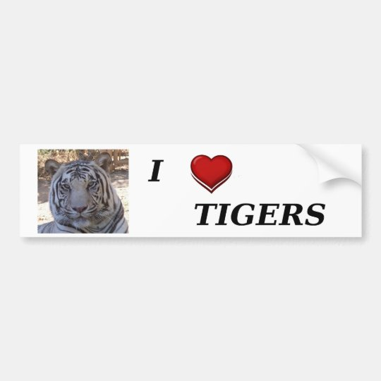 I Love Tigers Bumper Sticker