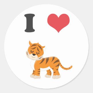 I Love Tigers Classic Round Sticker