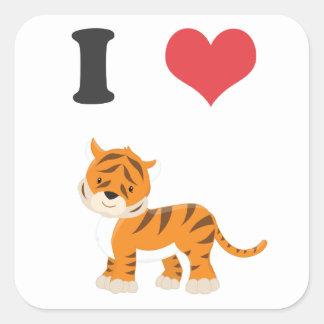I Love Tigers Square Sticker