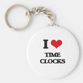 I love Time Clocks Basic Round Button Keychain