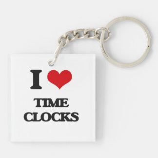 I love Time Clocks Double-Sided Square Acrylic Keychain