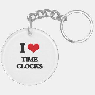I love Time Clocks Double-Sided Round Acrylic Keychain