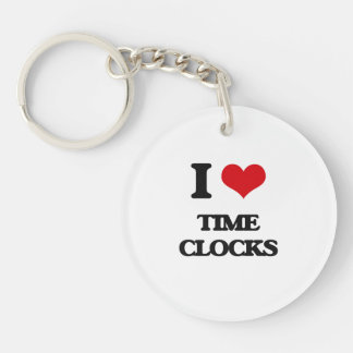 I love Time Clocks Single-Sided Round Acrylic Keychain