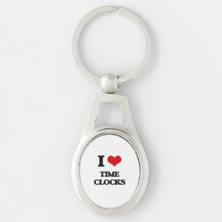 I love Time Clocks Silver-Colored Oval Keychain