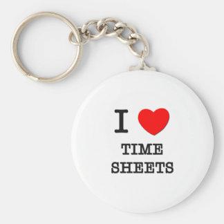 I Love Time Sheets Keychain