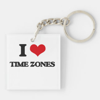 I love Time Zones Double-Sided Square Acrylic Keychain