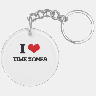 I love Time Zones Double-Sided Round Acrylic Keychain